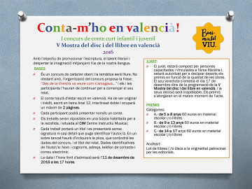 """Conta-m'ho en valencià"", concurs de conte curt infantil i juvenil."