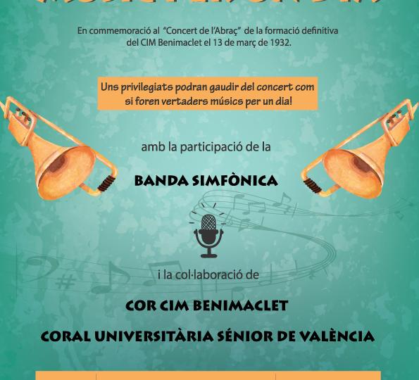 """Concert """"Músic per un dia"""" en commemoració de """"L'Abraç"""", divendres 3 de març, 22.30 h."""