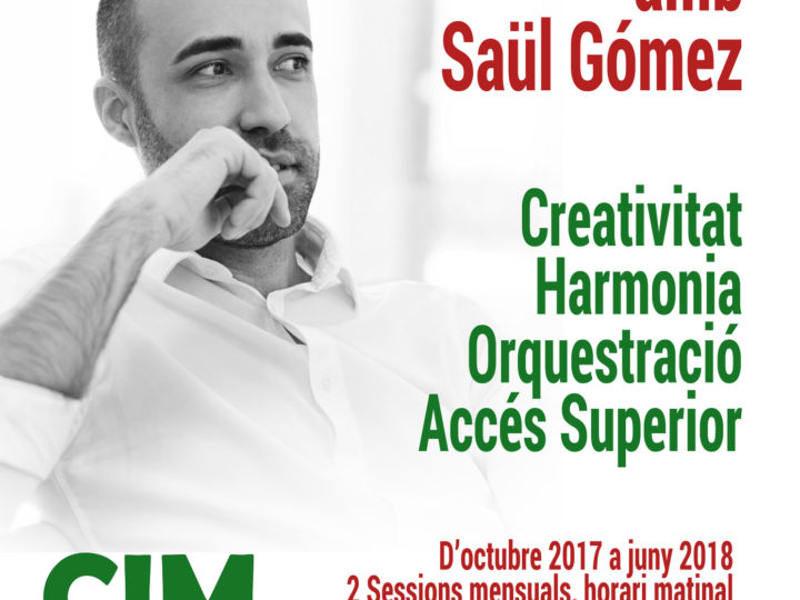 Curs d'iniciació a la composició amb Saúl Gómez, obrim la preinscripció per correu electrònic dimecres 13 de setembre.