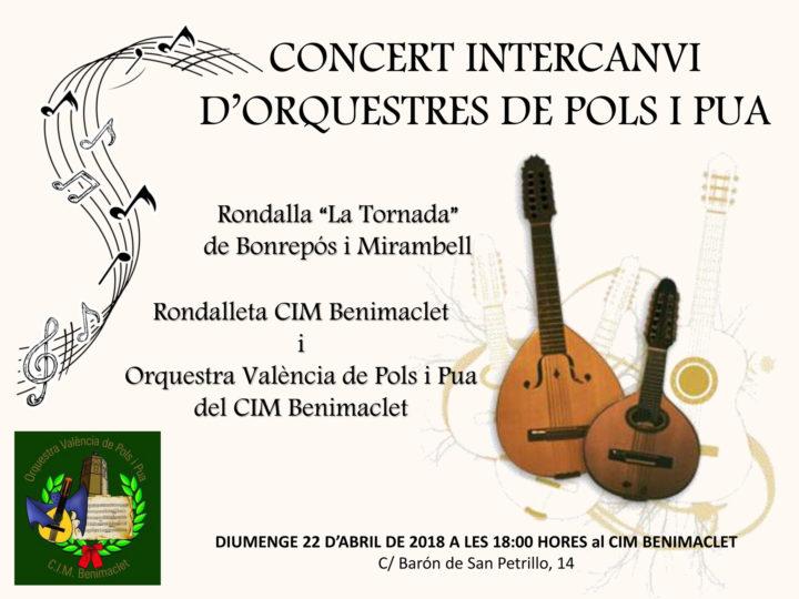 Concert d'orquestres de pols i pua i centenari de la Rondalla València amb La Tornada de Bonrepós i Mirambell, diumenge 22 d'abril, 18.00 h.