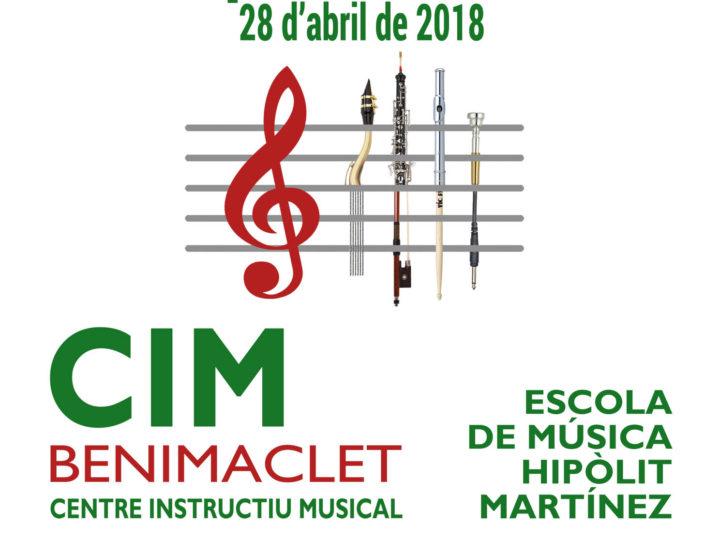 X Concurs d'Interpretació de l'Escola de Música Hipòlit Martínez del CIM de Benimaclet: oberta la inscripció fins el 25 d'abril de 2018.