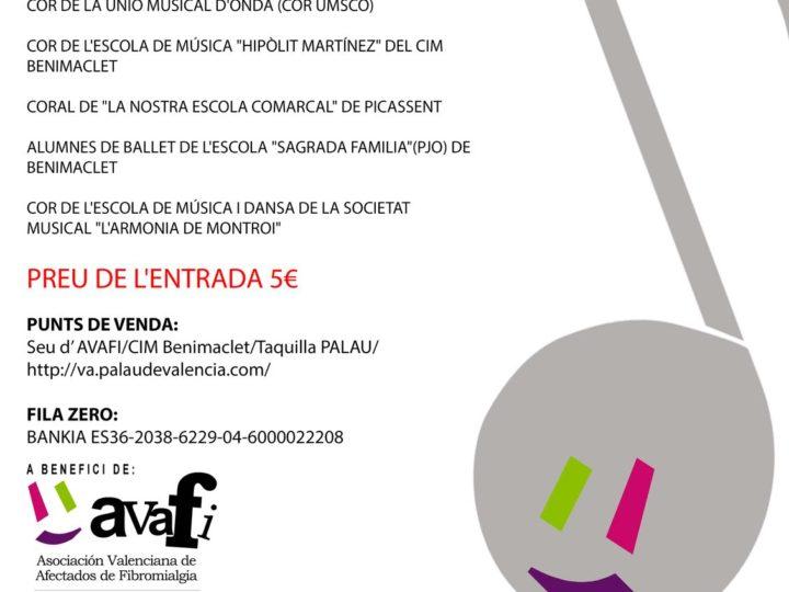 III Concert Solidari a benefici d'Avafi, amb la Banda Simfònica i el Cor de l'Escola, Palau de la Música de València, diumenge 13 de maig, 19.30 h.