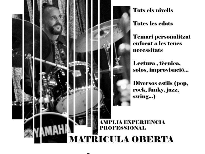 Nova oferta formativa de l'Escola de Música Hipòlit Martínez: classes de bateria pop, rock i jazz per al curs 2019-2020.