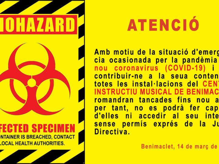 EL CIM de Benimaclet tanca totalment les portes des de divendres 13 de març de 2020 davant l'epidèmia de COVID-19.