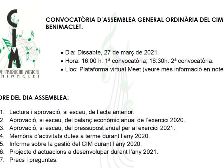 Assemblea General Ordinària del CIM de Benimaclet, dissabte 27 de març de 2021, 16.00 h.