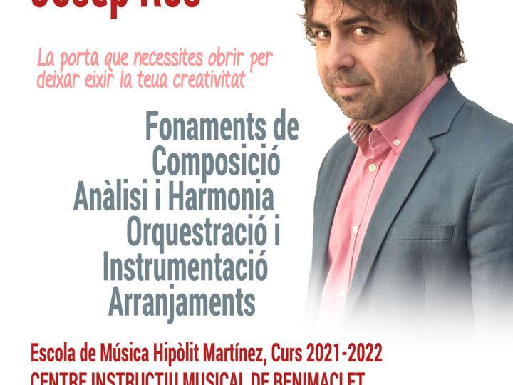 Nova proposta de creativitat musical: Taller d'iniciació a la composició amb Josep Ros: reserva i inscripció des de ja!